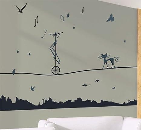 Adhesivo de pared gigante funambules-Monociclo y gatos por encima de la ciudad-WS054-31 stickers: Amazon.es: Hogar