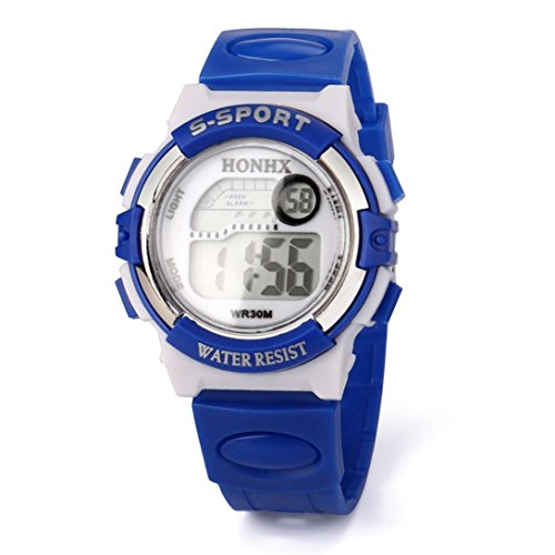 Gbell Kids Sports Electronic Watches,Waterproof LED Digital Wrist Watch - Boys Girls Youth Watch Gifts,Blue,Hot Pink,Sky Blue (Blue)