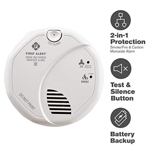 120vac Plug Carbon Monoxide Alarm - First Alert Smoke Detector and Carbon Monoxide Detector Alarm | Hardwired with Battery Backup, BRK SC7010B