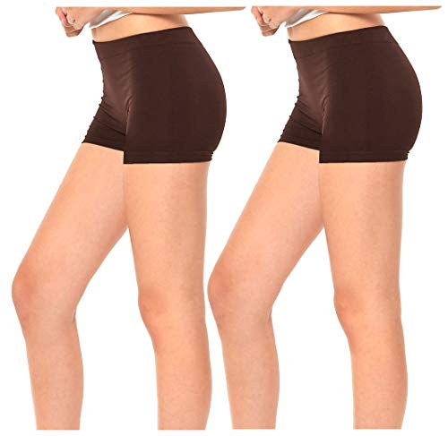 Gilbins 2 Pack Women's Seamless Stretch Yoga Exercise Shorts Brown
