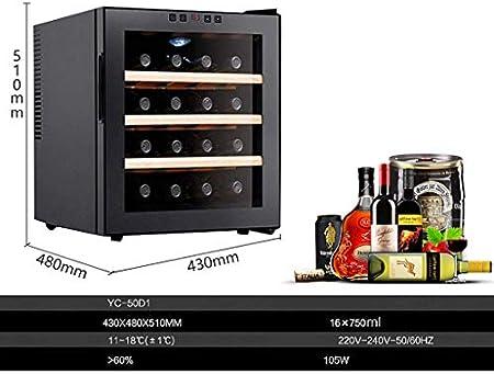 JCOCO - Armario termoeléctrico para vinos de 16 botellas - Armario para vinos tintos y blancos - Gabinete para vinos encimera - Refrigerador independiente con pantalla digital LCD