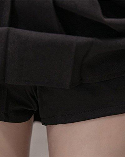 Plisse Jupe Court Haute Femme En Mini Patineuse Noir Taille Jupe RqRpYO0w