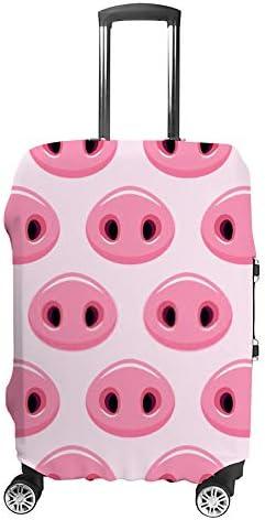 スーツケースカバー 伸縮素材 トランク カバー 洗える 汚れ防止 キズ保護 盗難防止 キャリーカバー おしゃれ 可愛い ピンク 豚の鼻の絵 ポリエステル 海外旅行 見つけやすい 着脱簡単 1枚入り
