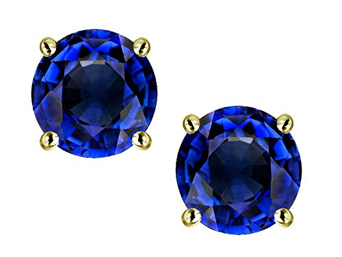 (Star K Classic Round 7mm Created Sapphire Four Prong Stud Earrings 10 kt Yellow Gold)