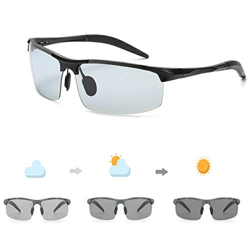 OSVAW Mens Polarized Photochromic Sunglasses for Outdoor Sport, UV Protection with Ultra Light Metal Frame for Driving