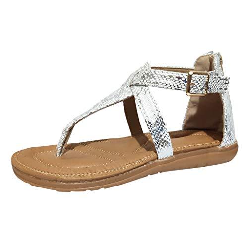 (AHAYAKU Women's Ladies Strap Ankle Leopard Toepost Flat Heel Beach Sandals Roman Shoes Silver)