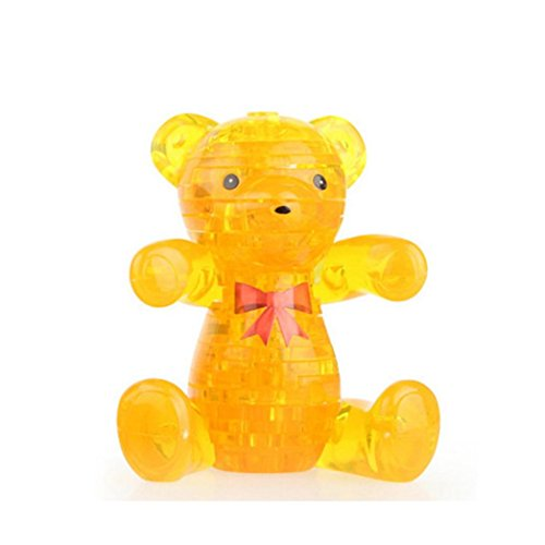 Wii Workout Mat - FINERINE 3D Crystal Puzzle, Cute Bear Model DIY Gadget Blocks Building Toy Gift (Yellow)