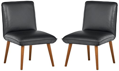 Rivet Wide Cushion Mid-Century Top-Grain Leather 2-Pack Accent Dining Chairs, 26.8″W, Black