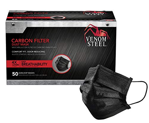 Venom Steel Carbon Filter Dust Mask, Black Face Mask Protects From Dirt, Dust & Pollen, Individually Wrapped, 50 Count