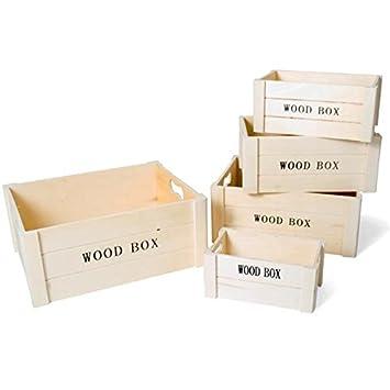 Bakaji Juego 5 cajas cajas de almacenamiento cajas de almacenamiento de fibra de madera MDF Wood