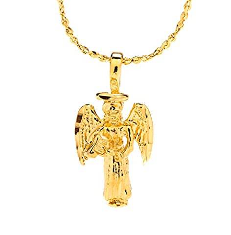 Guardian Angel, Pendant Necklace, Small, 24K Gold Premium Overlay Fashion Jewelry, GUARANTEED FOR LIFE, 18 Inch (24k Gold Necklace Solid)