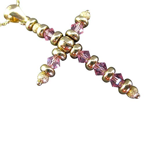 Milano Jewelers Large Extra Facet Pink Sapphire 14KT Yellow Gold 3D Cross Pendant #24303