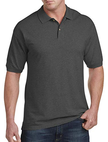(Harbor Bay by DXL Big and Tall Short Sleeve Pique Polo, Granite Heather, XL)