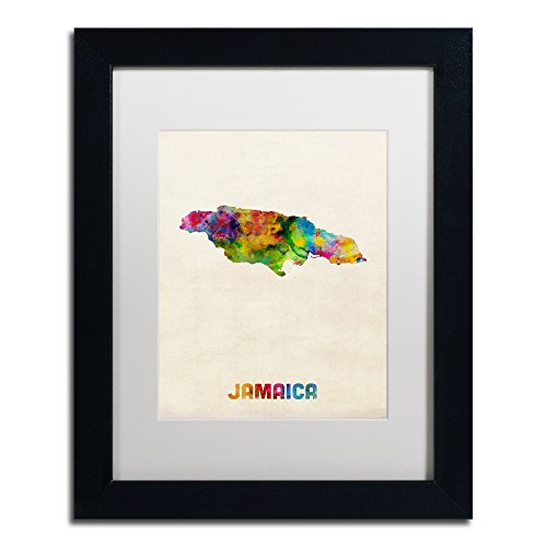 Jamaica Watercolor Map by Michael Tompsett, White Matte, Black Frame 11x14-Inch