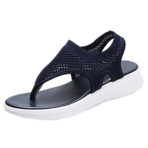 Women's Athletic Walking Shoes Casual Mesh Comfortable Work Sneakers ,Londony Flip Flops Yoga Flat Sandals Shoes Blue ()