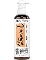 Body Merry Vitamin C Exfoliating Cleanser: Daily anti-aging face wash w Vitamin C + rosehip / tea tree oil + jojoba beads to unclog pores + fight acne & dark spots - Facial cleanser for day/night
