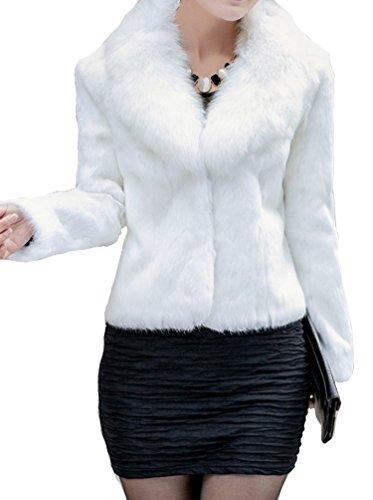 Helan Womens Short Slim Faux Fox Collar and Faux Rabbit Fur Coat
