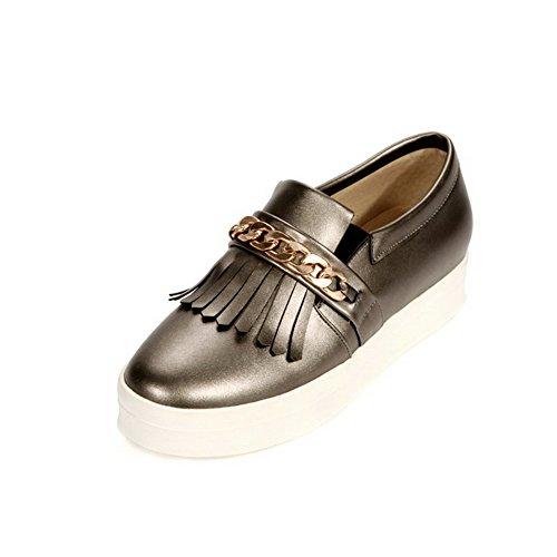 Amoonyfashion Femmes Chaton Talons Solide Tirer Sur Les Chaussures À Bout Fermé Fermé-chaussures Gris