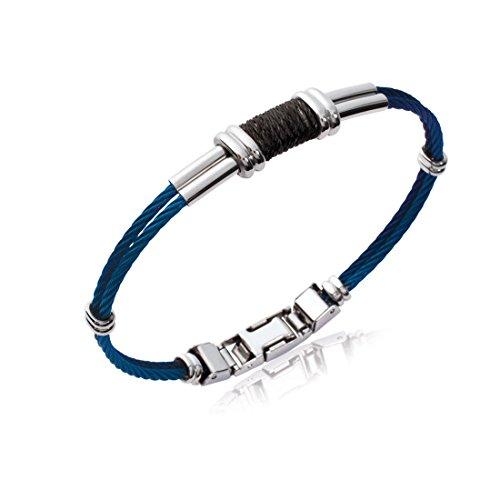 40d89b4051a7 Tata Gisele© pulsera hombre rígida de acero inoxidable plateado y azul –  estilo cuerda –