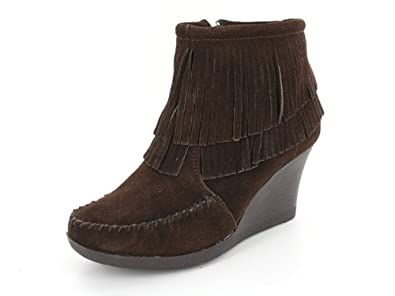 Image Unavailable. Image not available for. Color  Minnetonka Womens Double  Fringe Ankle Wedge ... 5e69a0560