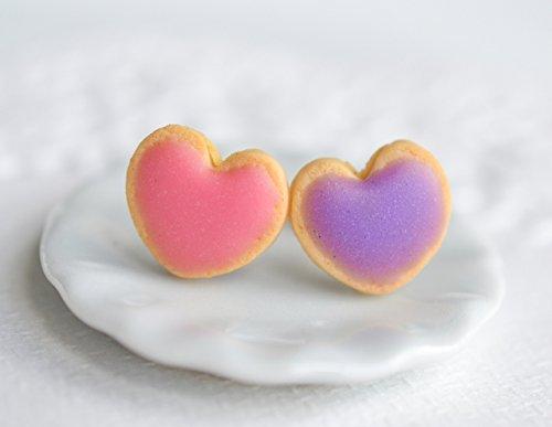 Scented Sugar Cookie Heart Stud Earrings Pink & Purple