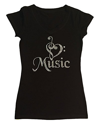 Womens Fashion T-Shirt with Heart Music in Rhinestones (1X, Black Cap Sleeve) -