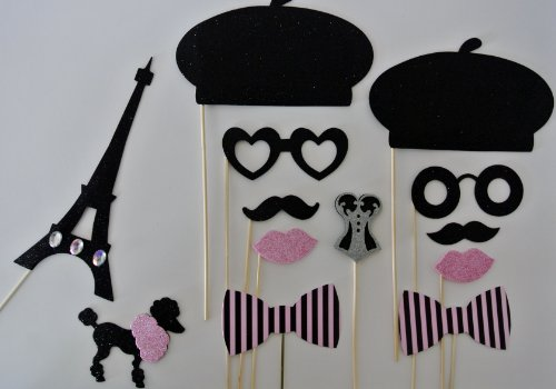 Parisian Inspired Photo Booth Props Mustache on a Stick 13 pc -