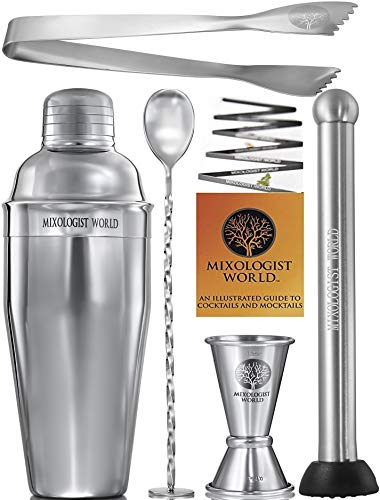 Premium Cocktail Shaker Bartender Kit -24 oz Bar Set Built-in Strainer with Muddler, Mixing Spoon,...