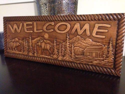 (123RoyWarner Wood Carved Welcome Sign with Bear Moose Trees and A Cabin)
