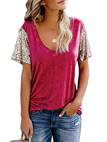 Kaei&Shi Patchwork Sequin Top,Clubwear Loose T Shirt,Party Sparkly T-Shirts for Women,Holiday Sequence Tee Wine Red -