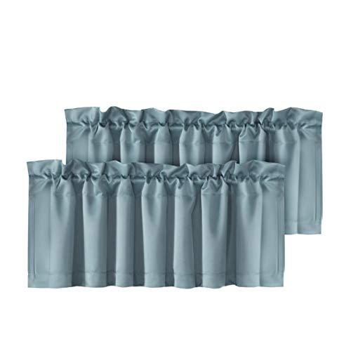 (H.VERSAILTEX Home Decorative Energy Efficient Valances for Windows Rod Pocket Room Darkening Curtain Valances for Bedroom/Kitchen, 2 Pack, 52 inch x 18 inch, Stone Blue)