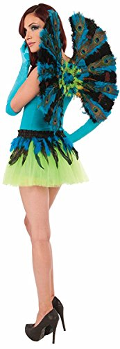Peacock Costume Feathers (Forum Novelties Women's Deluxe Peacock Wings, Multi, One Size)