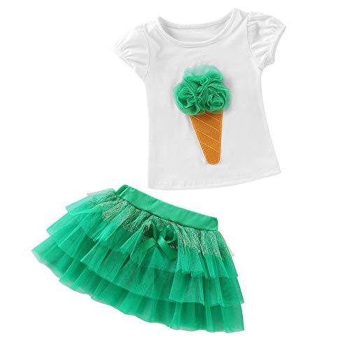 Price comparison product image Baby Girls Summer Dress, 2Pcs Baby Kids Girls 3D Ice Cream Printed Short Sleeve T-Shirt and Tutu Skirts Set (Green