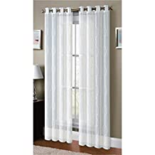 Window Elements Boho Embroidered Sheer Faux-Linen Extra Wide 108 x 96 in. Grommet Curtain Panel Pair, White