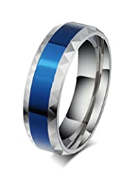 Stainless Steel Plain Couple Ring Fashion Jewelry for Wedding Band Engagement Promise,Middle Blue