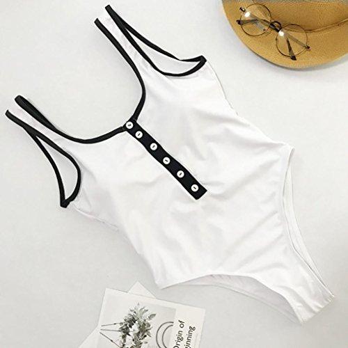 Maillot Blanc Triangulaire De Pièces Amincissante Bain Bikinis 1 Sanfashion Femme Zippé Bouton Col adq6cA7w
