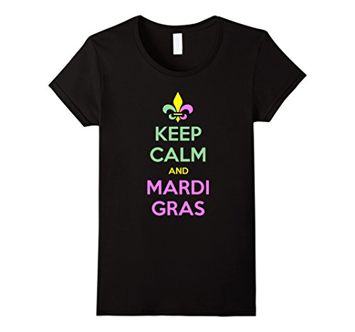 [Women's Keep Calm And Mardi Gras T-Shirt Large Black] (Hilarious Costumes Ideas)
