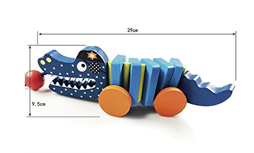 Jouets éducatifs préscolaires Animaux de bande dessinée Crocodiley-Pull en bois le long des jouets pour bébé (bleu) Honta