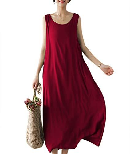 YESNO Girls Casual Flowy Tank Dresses Loose Summer Beach Sun Dress EHG (M, EHG Wine Red)