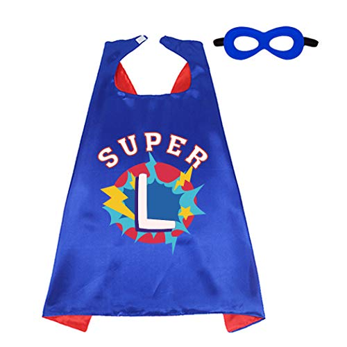 D.Q.Z Superhero Cape and Mask for Kids with Initial Letter Name Blue Red (Super L)