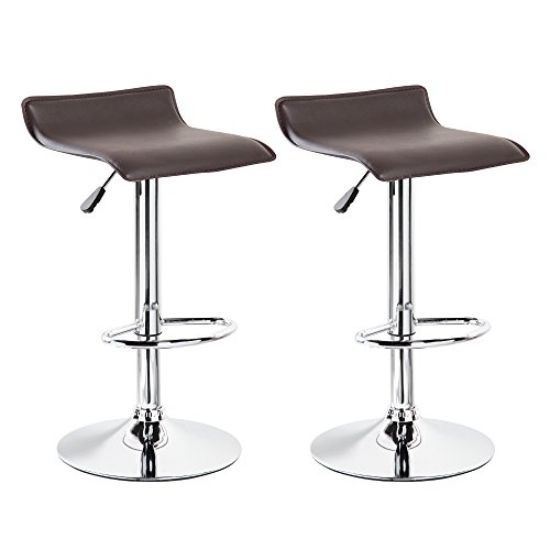 Belleze Set of 2 Leather Modern Swivel Barstools Adjustable Hydraulic Lift Chair Bar Stool, Dark Brown