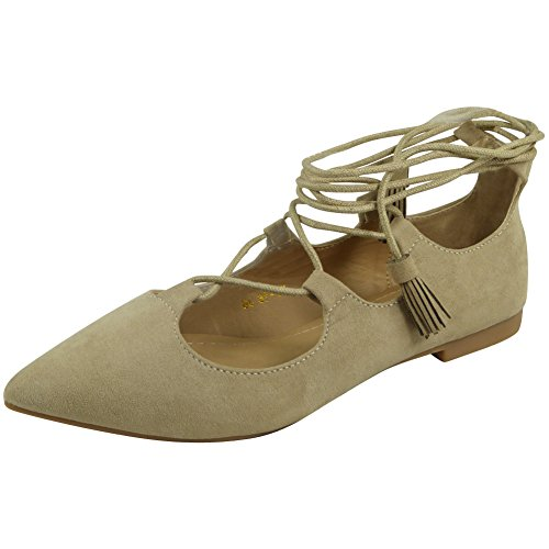 New Womens Ladies Casual Work Summer Low Heel Flats Lace Up Shoes Sandals Size 3-8 Beige