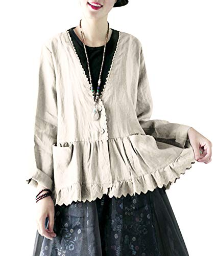 YESNO EB8 Women Cause Loose Cropped Blouse Jacket 100% Linen Button Down Gathered Waist Lace Hem Pocket ()