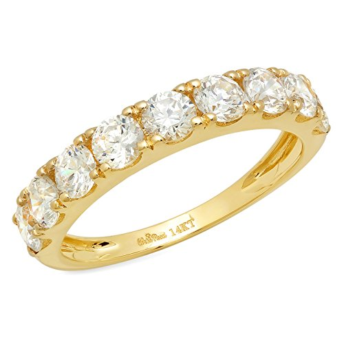 Clara Pucci 1.4 CT Round Cut Pave Set Bridal Wedding Engagement Band Ring 14kt Yellow Gold, Size 9 ()