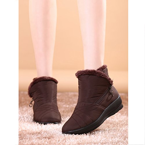 Eagsouni Ladies Calf Brown Waterproof Warm Boots Lined Snow Boots Ankle Winter Booties Shoes Zipper Womens Size Boots Mid Fur rgf60qrwx