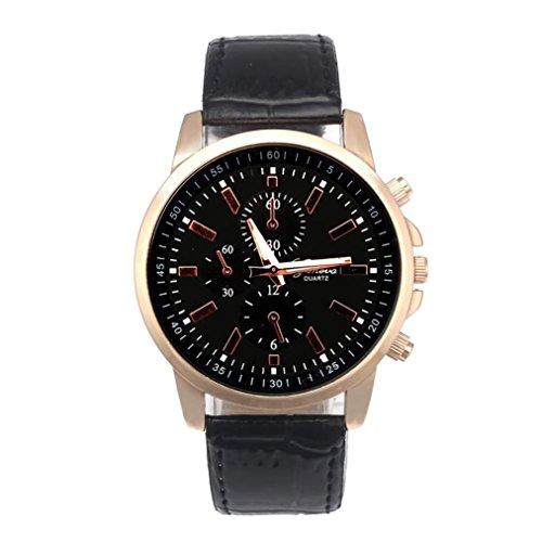 Clearance Watch!!! Daoroka Mens Belt Watch Geneva Leather Analog Dial Quartz Sport Wrist Watch Jewelry Gift (Gents Designer Watches)