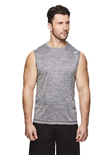 Reebok Men's Muscle Tank Top - Sleeveless Workout & Training Activewear Gym Shirt - Charger Charcoal Heather, Medium (Shirt Tech Sleeveless)