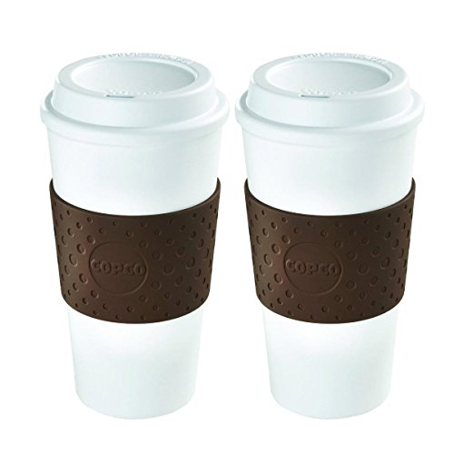 Copco 2510-9963 Acadia Reusable To-go Mug, 16-ounce Capacity, Brown - Pack of 2 (Plastic Textured Mug Travel)