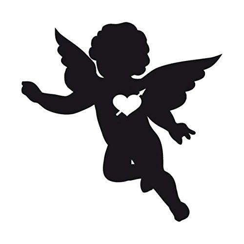 Angel Cherub Decal Vinyl Sticker|Cars Trucks Vans Walls Laptop| Black |5.5 x 5.5 in|CCI1124