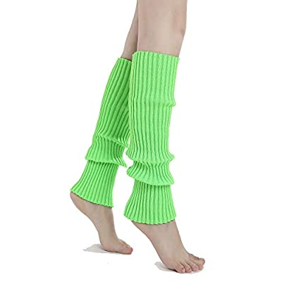 Sarfel Leg Warmers for Women 80s Ribbed Knit Leg Warmer Custume Womens Leg Warmers Sports Party Accessories 3 Pack(Fluorescein+Green+Rose): Clothing